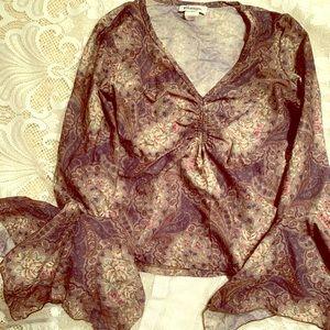 Vintage sheer blouse ruffled sleeve ruched paisley
